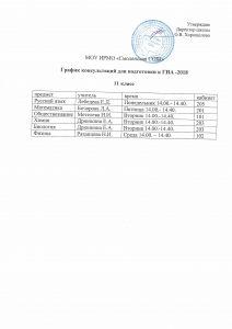 График консультация для подготовки к ГИА-2018 11 класс